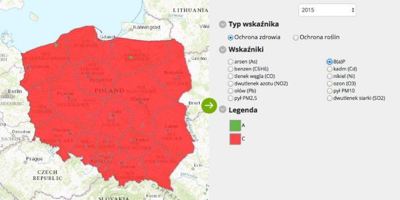 Główny Inspektorat Ochrony Środowiska ocenia jakość powietrza w Polsce w 2015 roku.