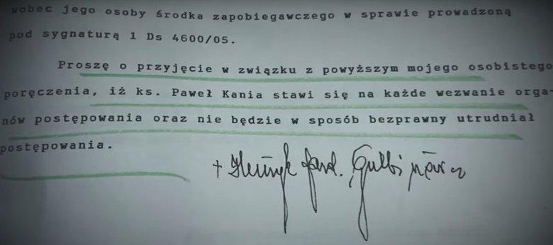 Poręczenie kard. Gulbinowicza za ks. Kanię.