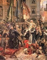 fragment obrazu Matejki przedstawiający triumf Króla Stanisława 3 maja..