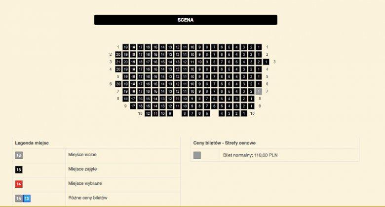 """Strona rezerwacji Teatru Ateneum w Warszawie – w połowie marca na """"Kolację dla głupca"""" graną 17 maja został tylko jeden bilet w VII rzędzie. I to pomimo dość wysokiej ceny – 110 zł."""