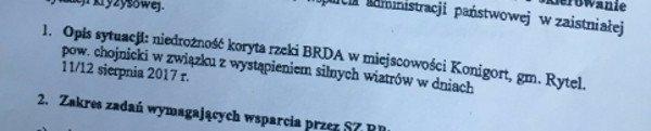 Wojewoda prosił o pomoc w wojska w gminie Rytel, choć takiej gminy nie ma.