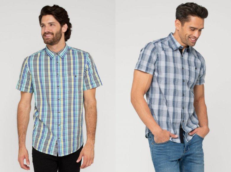 Rękawy męskiej koszuli - zawinięte, ale  nie krótkie.