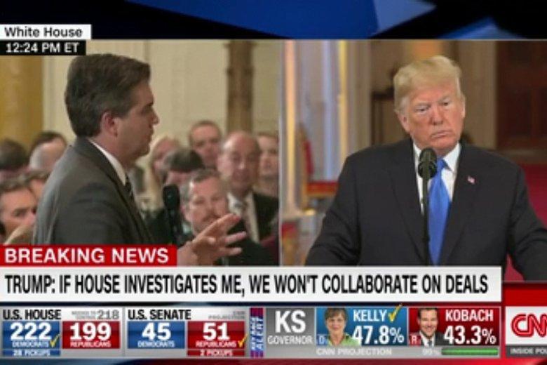 Prezydent USA Donald Trump stracił nad sobą kontrolę po trudnych pytaniach Jima Acosty z CNN.