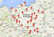 """Planowana mapa pomiarów - na razie """"wypadły"""" instalacje w województwie Pomorskim i Kujawsko-Pomorskim i Wielkopolskim. Pozostałe mają ruszyć jeszcze przed końcem roku."""