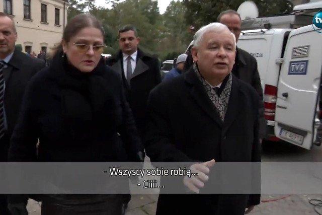 """""""Ćśś"""" – prezes Kaczyński ucisza posłankę Pawłowicz, która skarży się na zrywanie jej plakatów wyborczych"""