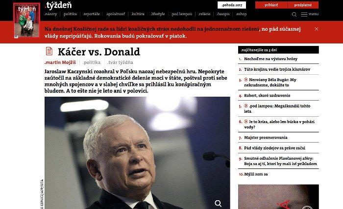 Niedawno słowacki tygodnik pisał o Jarosławie Kaczyńskim.