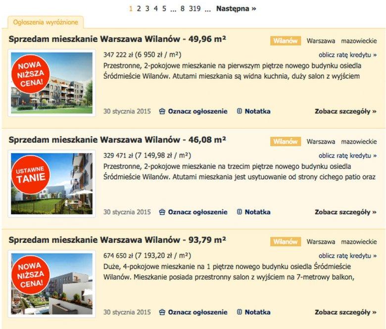 Przykładowe ceny mieszkań w Wilanowie.