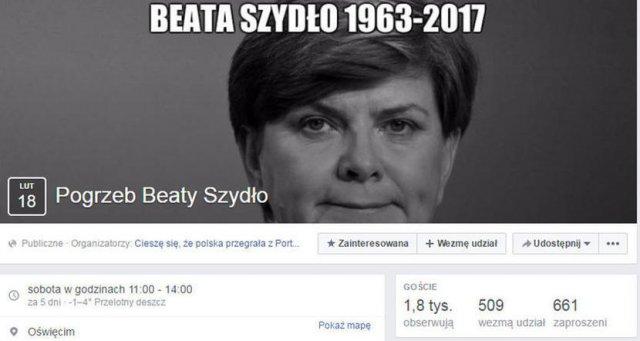 Ktoś robił sobie na Facebooku żarty z rzekomej śmierci premier Beaty Szydło.