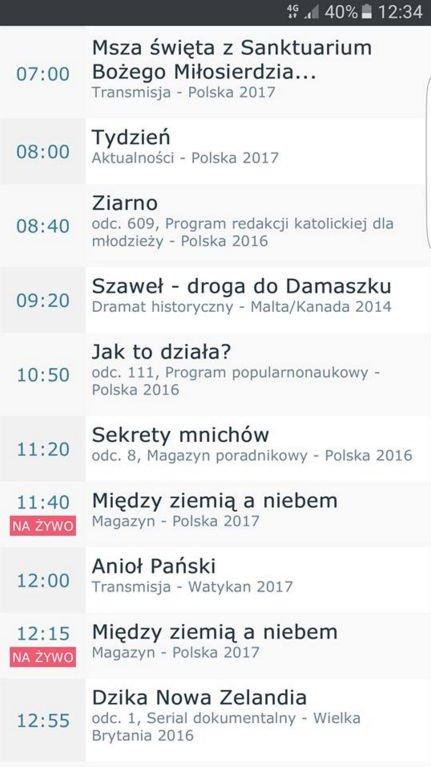Ramówka TVP1 na niedzielę.