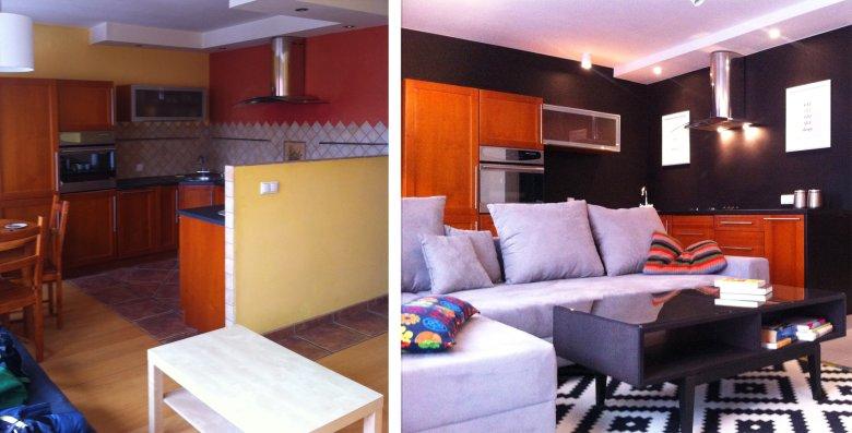 Przykład zmian przed i po w salonie z aneksem kuchennym. Meble zostały te same.