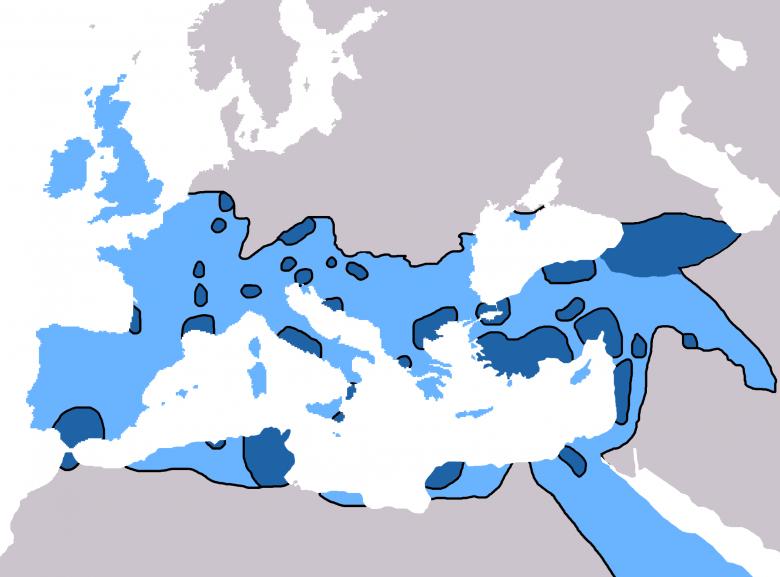 Ziemie chrześcijańskie w 600 r. przed powstaniem islamu