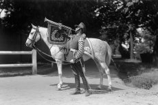 Fanfarzysta Biedakiewicz przy koniu.