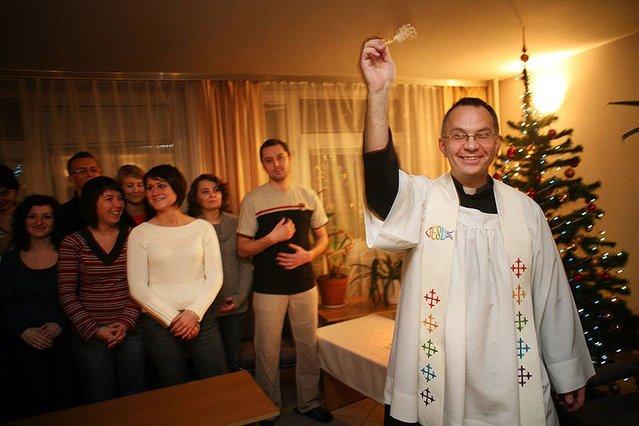 Wizyta duszpasterska w jednym z krakowskich akademików.