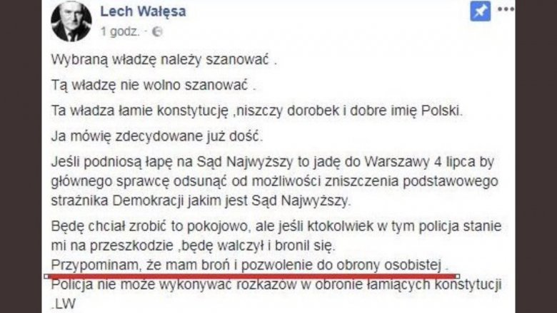 Ten wpis Lecha Wałęsy nie jest już dostępny. Na Facebooku można znaleźć łagodniejszą wersję deklaracji byłego prezydenta, gdzie nie ma już słów o posiadaniu broni.