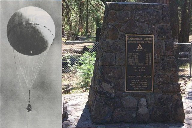 Po lewej japońska bomba, po prawej pomnik ofiar.