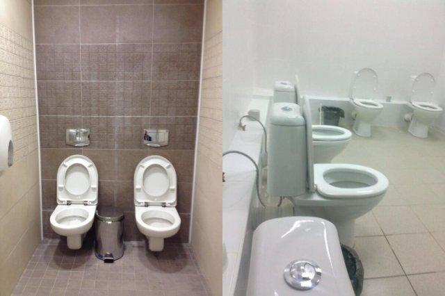 Wieloosobowe kabiny toaletowe okazują się normą w rosyjskich obiektach sportowych...