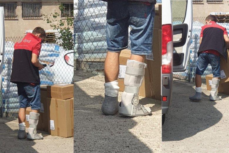 Zdjęcia kuriera, który pracuje mimo obydwu nóg w gipsie, wywołały oburzenie.
