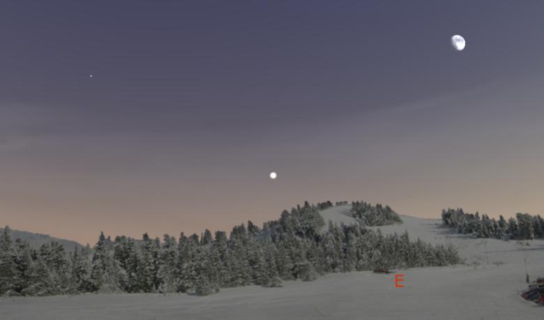 Widok nieba ok. 15:50. Na środku jasny Jowisz, po lewej u góry Capella - pierwsza gwiazdka.