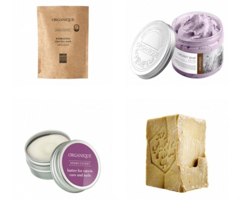 Produkty marki Organique. U góry po lewej maska algowa z dynią i z glukozą, do samodzielnego rozrobienia w miseczce z wodą. Dodatek glukozy wzmacnia nawilżające działanie maski, zmiękcza i wygładza naskórek oraz pozostawia satynowe wykończenie