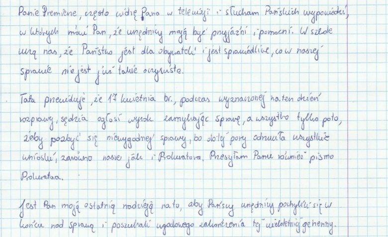 Fragment listu Oli.