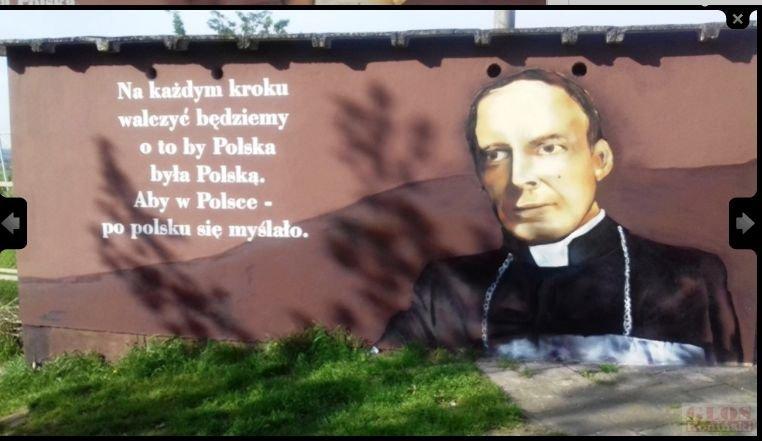 Pierwszy projekt muralu z wizerunkiem kardynała Stefana Wyszyńskiego.