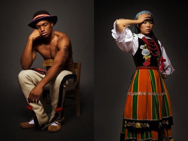Jevone z Jamajki w stroju góralskim oraz Verneille z Trinidadu w kostiumie śląskim.