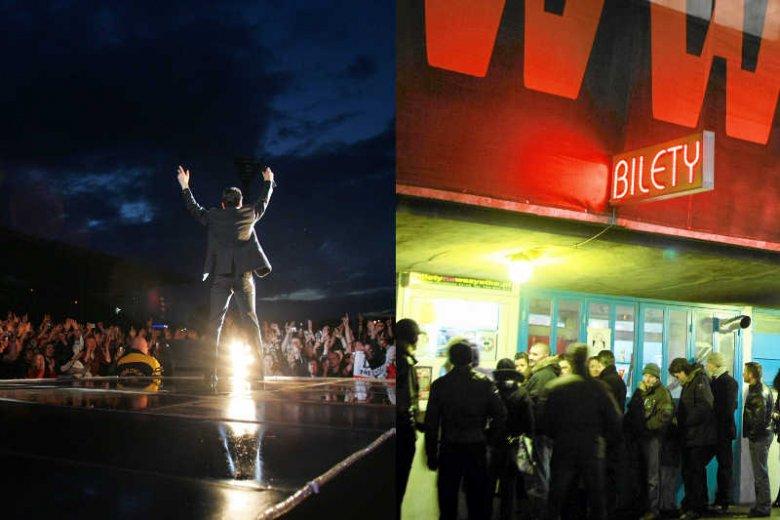 Wokalista Depeche Mode David Gahan podczas koncertu na warszawskiej Legii w 2006 roku / Fani stojący w kolejce po bilety przed koncertem w łódzkiej Atlas Arenie w 2010 roku.
