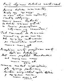 Rękopis wiersza Wybickiego