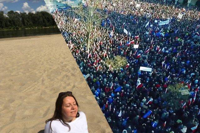 Joanna Lichocka dosadnie pokazuje, że nic sobie nie robi z dzisiejszych protestów przed Sejmem.