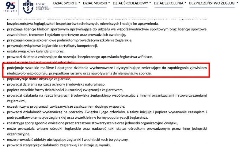 Zrzut ekranu statut Polskiego Związku Żeglarskiego paragraf 8