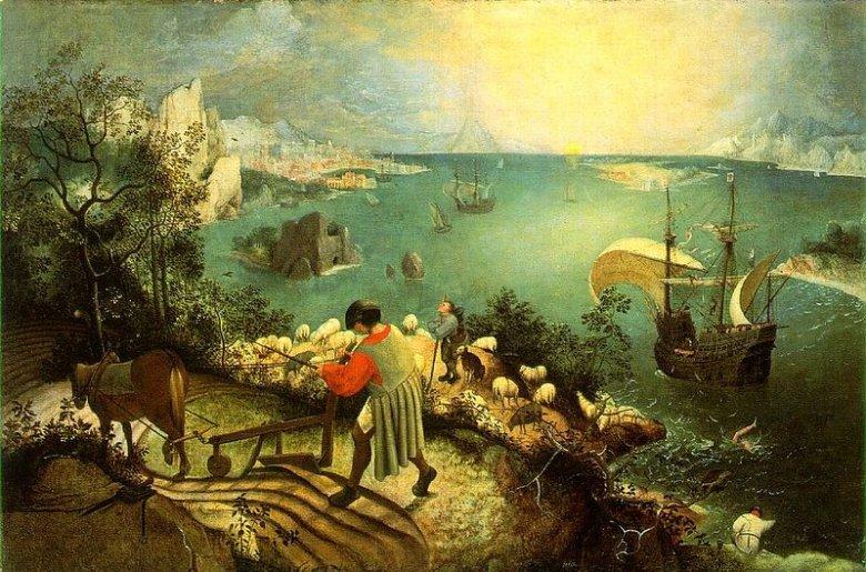 Pieter Bruegel Starszy, Pejzaż z upadkiem Ikara, 1557, Królewskie Muzea Sztuk Pięknych