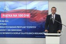 """Premier Morawiecki ogłosił w poniedziałek główne założenia programu """"Piątka na 100 dni""""."""