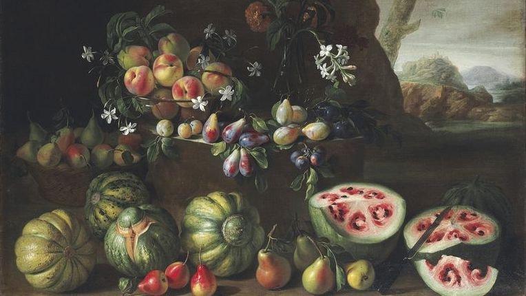 Fragment obrazu XVII-wiecznego obrazu Giovanni Stanchiego, na którym uwiecznił on jak setki lat temu wyglądał arbuz.