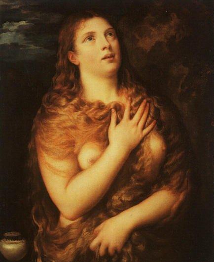 Tak Marię magdalene widział Tycjan. Maria patrzy na Chrystusa, wierni patrzą na biust Marii :-)