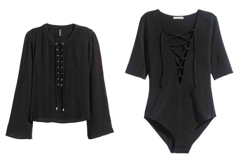 Czarne body z szyfonu - H&M 129,90 zł, luźna sznurowana bluzka - H&M 69,90 zł