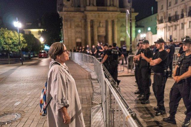 Agnieszka Holland przemawiała na Krakowskim Przedmieściu. Nie wszystkim się to spodobało.