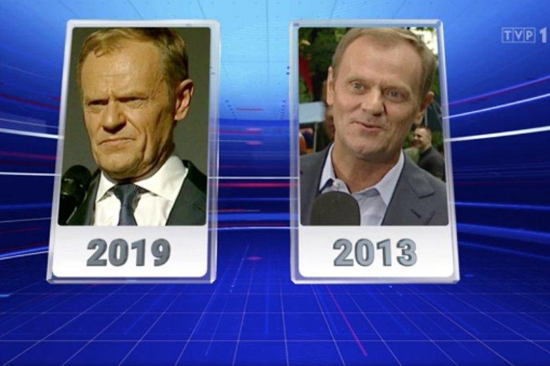 """W """"Wiadomościach"""" TVP porównano zdjęcia Tuska z 2013 i 2019 r. i na tej podstawie wyciągnięto wnioski."""