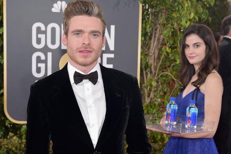 """Fiji Water Girl to """"wodzianka"""", która stała się mistrzynią drugiego planu na wielu zdjęciach gwiazd w czasie gali Złotych Globów."""