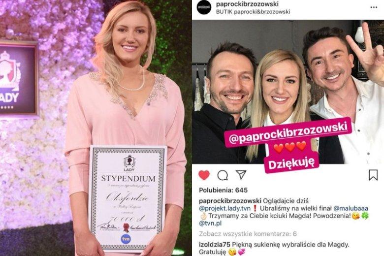 Sukienkę na finał dla Magdaleny Lubacz zaprojektował duet Paprocki i Brzozowski. Teraz została wystawiona na aukcję, jej aktualna cena to 910 złotych