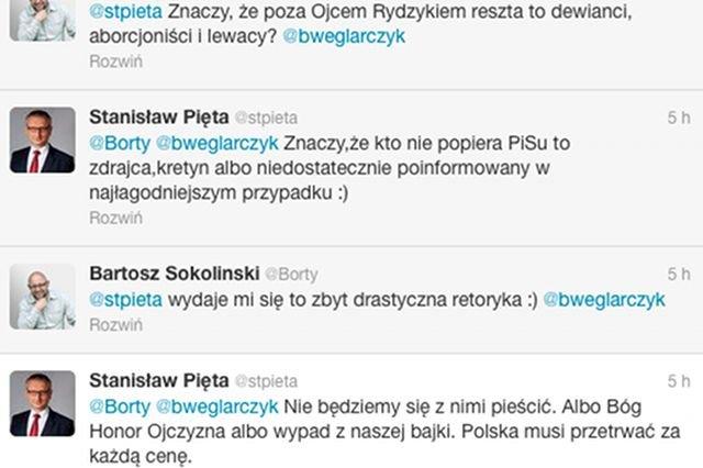 """Kontrowersyjny wpis, jaki Stanisław Pięta umieścił na Twitterze, przekonuje, że """"kto nie popiera PiS-u to zdrajca,kretyn albo niedostatecznie poinformowany w najłagodniejszym przypadku"""""""