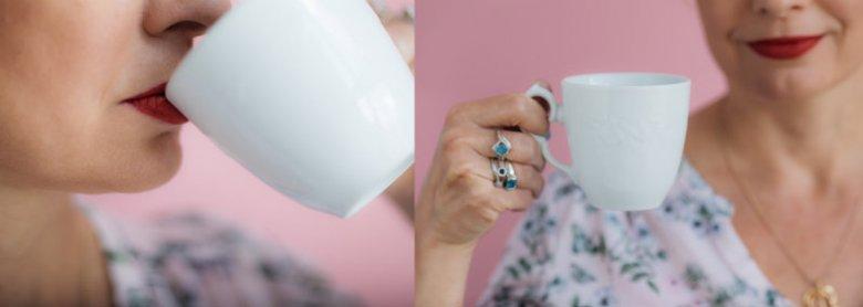 OH! my Lips nie zostawia śladów na krawędziach szklanek czy filiżanek - test zdała nawet biała porcelana.