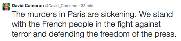 Atak potępił na Twitterze premier Wielkiej Brytanii David Cameron