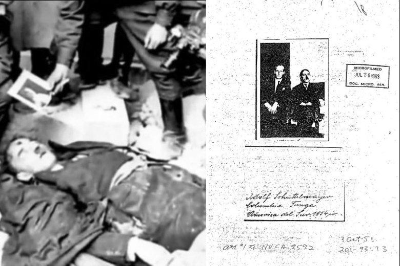 Na zdjęciu z lewej martwy sobowtór Hitlera, Gustav Weler, którego zwłoki znaleźli Rosjanie w Berlinie. Po prawej fotografia z 1954 r. mająca przedstawiać Hitlera w towarzystwie nieznanego mężczyzny, przesłana przez rezydenturę CIA w Bogocie do centrali