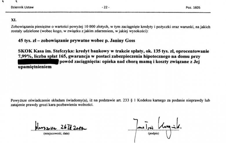 Jarosław Kaczyński posiada dług o wysokości 45 tys. złotych, który zaciągnął u Janiny Goss.