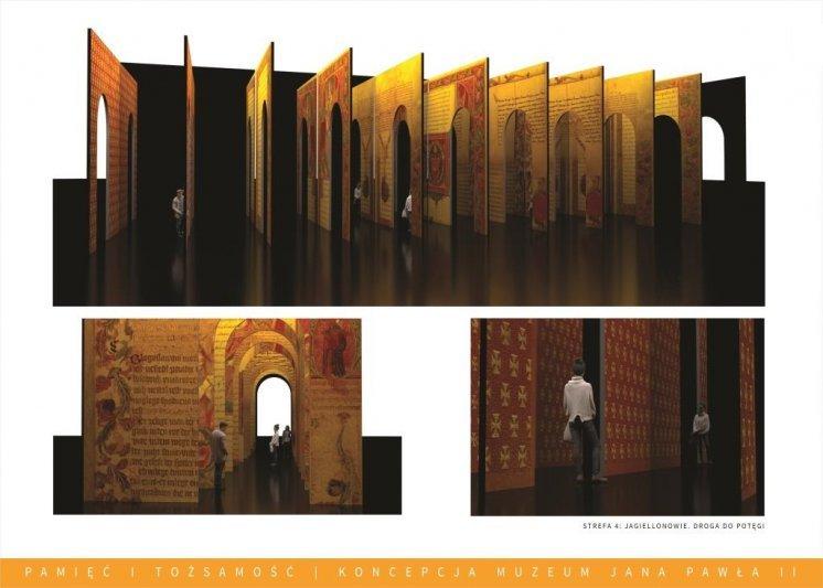"""Materiały Fundacji """"Lux Veritatis"""". Wizualizacja muzealnej sali zatytułowanej """"Jagiellonowie. Droga do potęgi""""."""