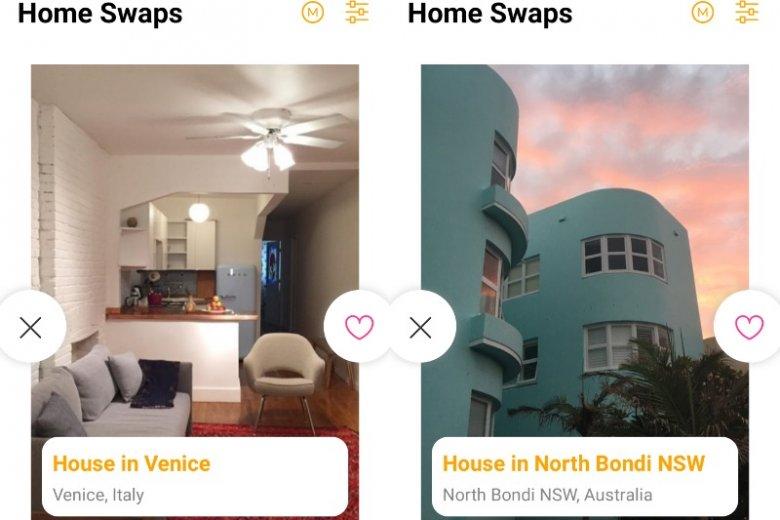 Holidaj Swap działa na tych samych prostych zasadach, co popularny Tinder - przesunięcie obrazka w prawo oznacza zainteresowanie obiektem, w lewo - jego brak