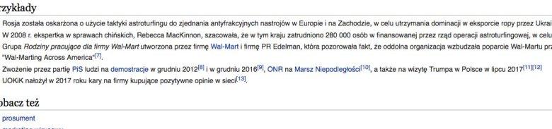 """Przedostatnia wersja hasła """"astroturfing"""" w Wikipedii"""
