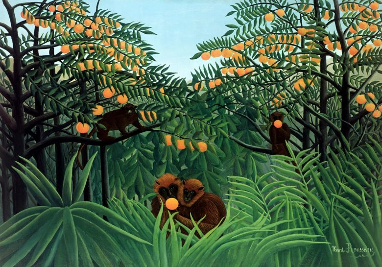 """Apes in the Orange Grove"" Henriego Rousseau, francuskiego malarza naiwnego"