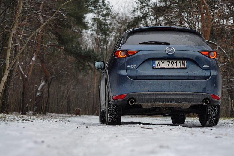 Mazda CX-5 poradzi sobie w terenie. Oczywiście bardzo umiarkowanym. To auto na asfalt, ale z dużym prześwitem.