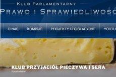 Strona Klubu Parlamentarnego PiS przejęta przez... Klub Przyjaciół Pieczywa i Sera! I to nie jest dzieło hakerów